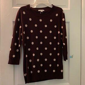 NY&C Maroon Polka Dot 3/4 Sleeve Shirt